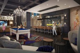 Rendering of Altis Grand Central lounge with billiards, TVs bar and social tables